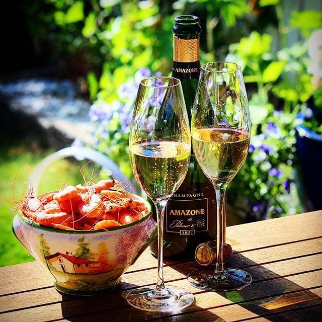 Bubbel på lördagar är nästintill obligatoriskt! Hoppas ni själva sitter med ett glas mousserande i handen. Själv fullkomligt njuter jag just nu av denna härliga skapelse! Skål på er! _______________ ? Amazone de Palmer Brut (nr 82267; 649 kr).  50% Pinot Noir och 50% Chardonnay.  0,7 g/100 g (7 g/L). ? Utsökt blommig och nötig doft med frisk fruktighet, inslag av äpple och tropisk samt torkad frukt, fläder, honung samt mineral.  Torr med en fruktighet av tropiska frukter och äpple. Vidare återfinns blommiga och nötiga toner, inslag av citrus och mineral. Subtil och elegant syra.  Societé Coopérative de Productuers des Grands Terroirs de la Champagne – mer känt som Palmer & Co inkluderar idag flera hundra odlare och tillsammans äger de över 400 ha vinodlingar. Amazone de Palmer Brut är kooperativet 'Prestige-Cuvée' och den är, till skillnad från många andra Champagnehus, en non vintage, dvs. en blandning av flera olika årgångar. Produktionsmässigt är skapelsen lagrad på sin jästfällning i hela 10 år vilket ger en utvecklad, mogen och ytterst trivsam champagne med en nyanserad aromprofil. Mycket mumsigt och passade utmärkt till räkor. ? 9,0 (exceptionell Champagne)! _______________ @oenoforos @orrefors @lenahultmanart @champagnepalmer